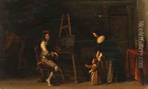 An Artist at an Easel with his Family in his Studio Oil Painting - Christoffel Jacobsz van der Lamen