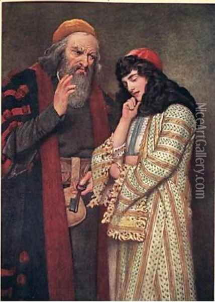 Shylock and Jessica Oil Painting - James Dromgole Linton