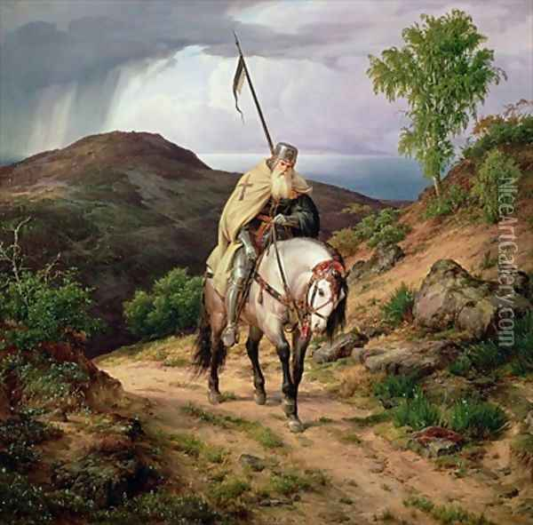 The Return of the Crusader Oil Painting - Karl Friedrich Lessing