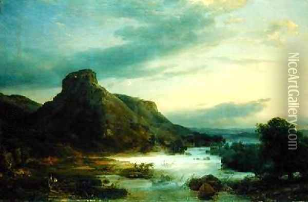 Mountains in an Evening Mist Oil Painting - Karl Friedrich Lessing