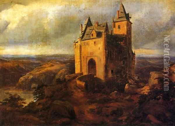 Castle in a Landscape Oil Painting - Karl Friedrich Lessing