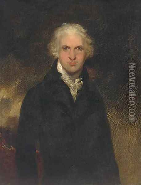 Portrait of a gentleman, thought to be Lord Leverford when Lord Hawkenbury, half-length, in a black jacket and white cravat Oil Painting - Sir Thomas Lawrence