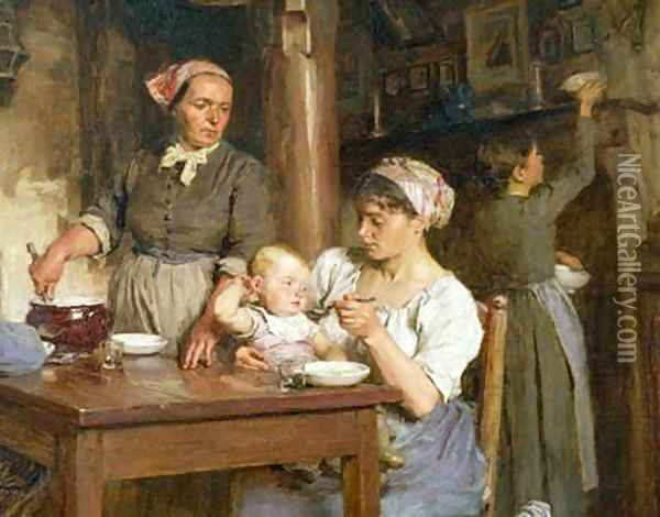 The Midday Meal detail of feeding the baby Oil Painting - Leon Augustin Lhermitte