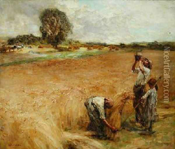 Harvester Drinking from a Flask or Thirst 1905 Oil Painting - Leon Augustin Lhermitte
