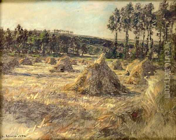 Haystacks in Sunset 1906 Oil Painting - Leon Augustin Lhermitte