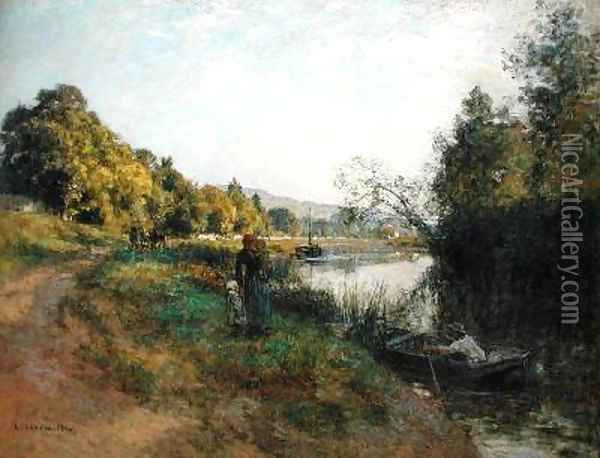 The Banks of the Marne Return of the Fisherman Oil Painting - Leon Augustin Lhermitte