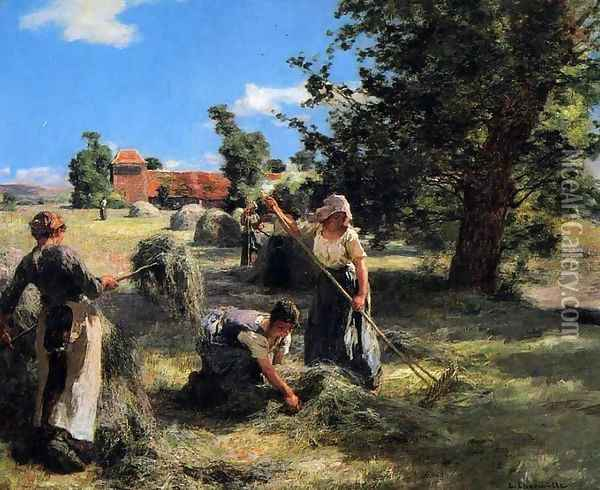 Harvest at the Farm on Rue Chaily Oil Painting - Leon Augustin Lhermitte