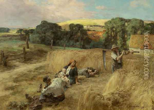 A Rest from the Harvest Oil Painting - Leon Augustin Lhermitte