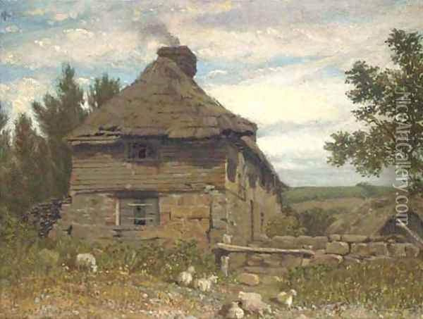 A cottage in a landscape Oil Painting - William Linton