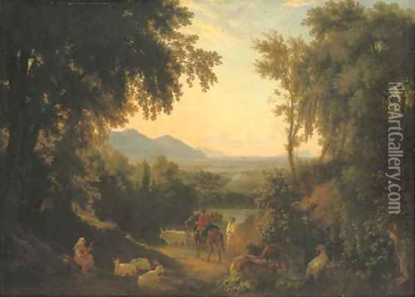An Italianate landscape, with peasants and livestock in the foreground Oil Painting - William Linton