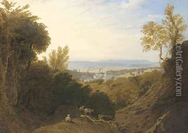 View of Broad Oak Printworks, near Accrington, Lancashire, with Broad Oak House beyond Oil Painting - William Linton