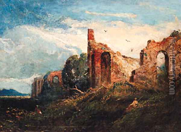 Figures resting by Ruins, possibly in the Campagna Oil Painting - William Linton