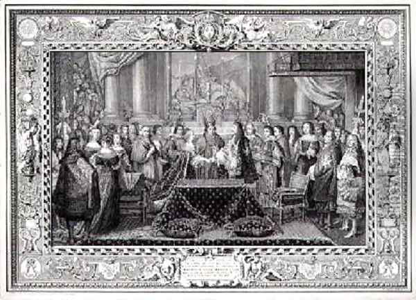 Marriage Ceremony of Louis XIV 1638-1715 King of France and Navarre and the Infanta Maria Theresa of Austria 1638-83 daughter of Philip IV King of Spain in 1660 Oil Painting - Charles Le Brun