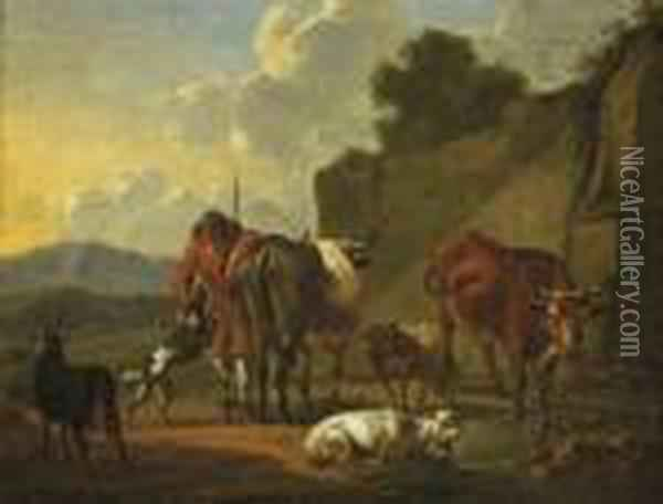 A Herdsman With His Cattle Resting Near A Stream Oil Painting - Karel Dujardin
