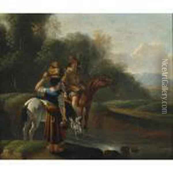 Early Morn (couple With Their Horses Gathering Water In Alandscape) Oil Painting - Karel Dujardin