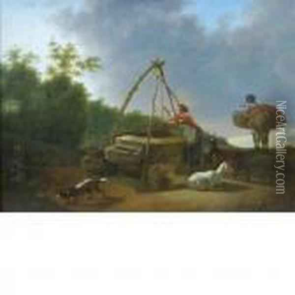 Woman Stopping At A Well Besidea Road Oil Painting - Karel Dujardin
