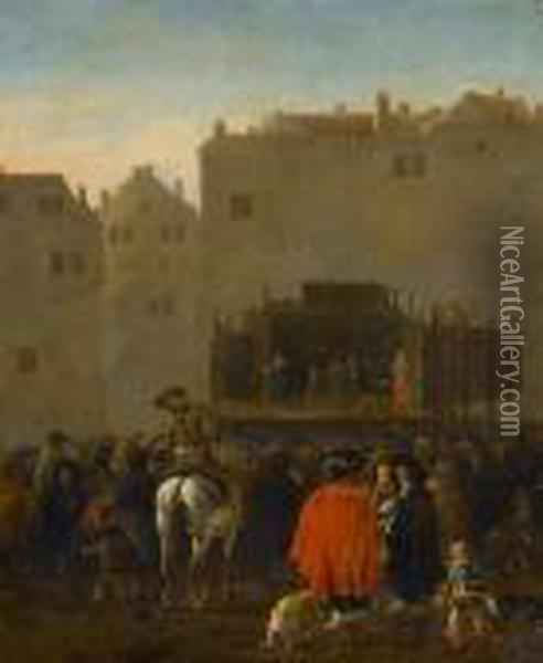 The Commedia Dell'arte At A Market Square Oil Painting - Karel Dujardin