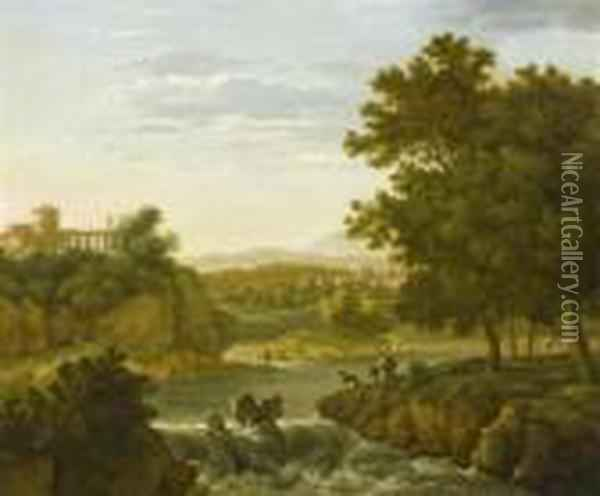 Landscape With A View Of Tivoli Oil Painting - Karel Dujardin