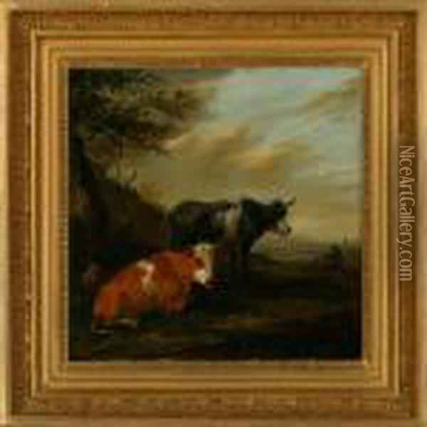 Landscape With Cows Oil Painting - Karel Dujardin