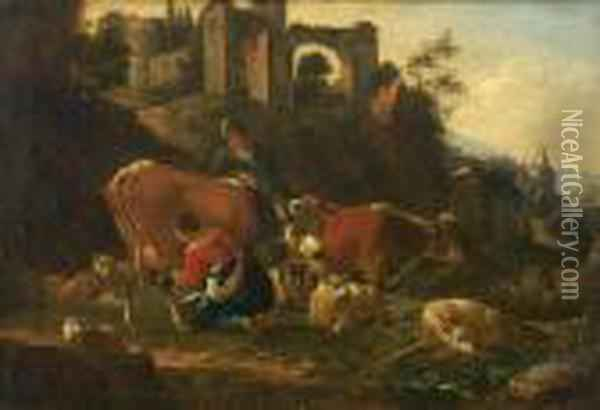 A Herdsman And A Milkmaid With Cattle And Sheep Before Ruins Oil Painting - Karel Dujardin