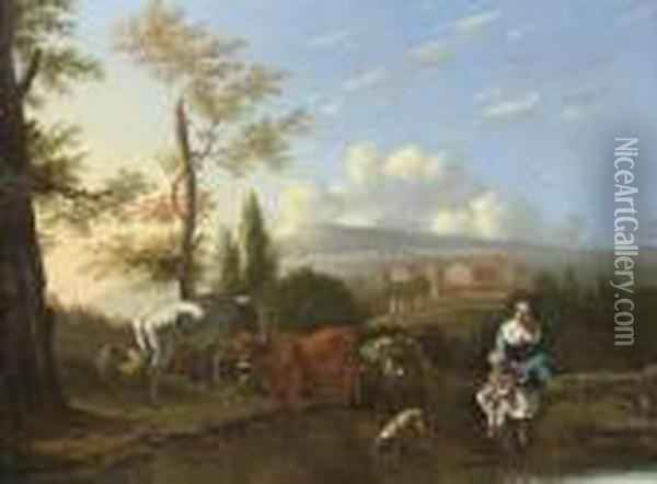 A Mountainous Landscape With A  Woman And Child By A River, With A Donkey And Cart, A Town Beyond Oil Painting - Karel Dujardin