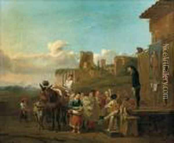 Peasants Gathered Around A Stage To Watch A 'comedia Dell'arte' Play Oil Painting - Karel Dujardin