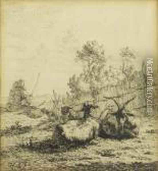 Bouc Et Moutons Oil Painting - Karel Dujardin