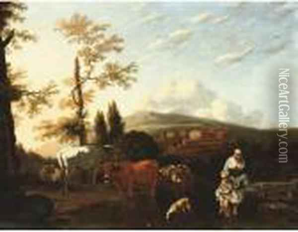 A Peasant Woman And Boy With Cattle In An Italianate Landscape Oil Painting - Karel Dujardin