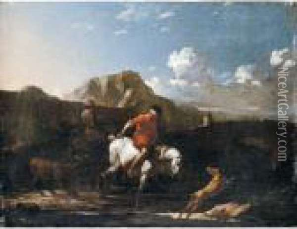 A Southern Landscape With A Boy Fording A Stream On A Grey Pony Oil Painting - Karel Dujardin