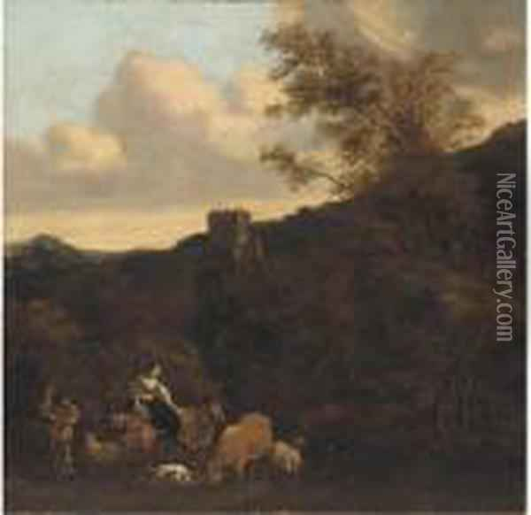 A Maiden Happening Upon A Cattle Drover Oil Painting - Karel Dujardin