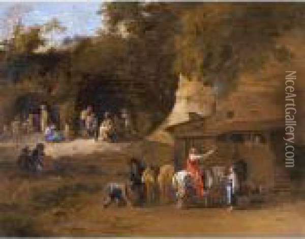 Figures And Horses By An Inn Oil Painting - Karel Dujardin