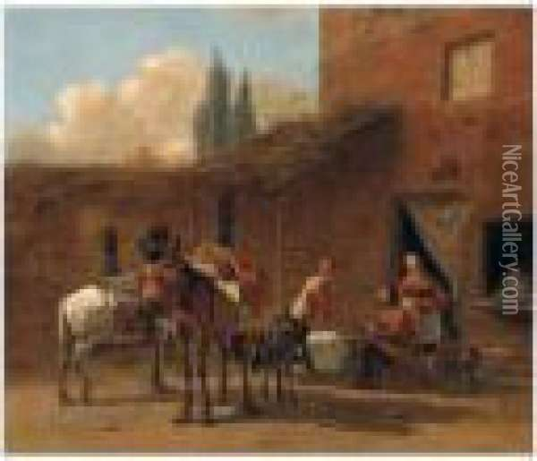 Travellers And Pack Animals In The Courtyard Of An Inn Oil Painting - Karel Dujardin