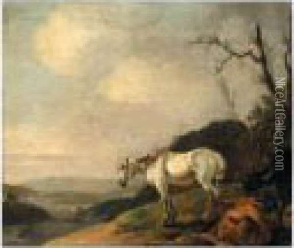 Landscape With A White Horse And Cattle Oil Painting - Karel Dujardin