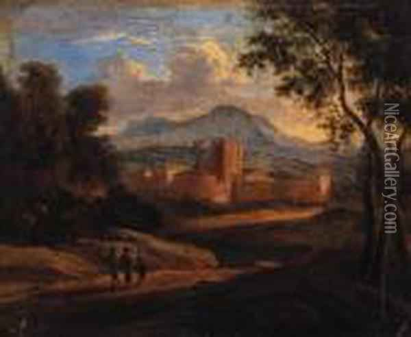 An Italianate Landscape With Travellers On A Track, A Walled Townbeyond Oil Painting - Karel Dujardin