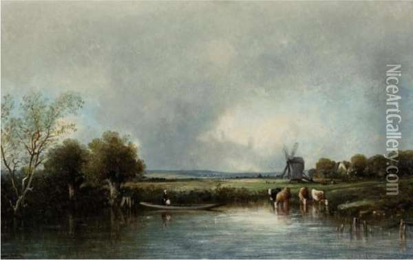 Cows By The Pond Oil Painting - Leon Victor Dupre