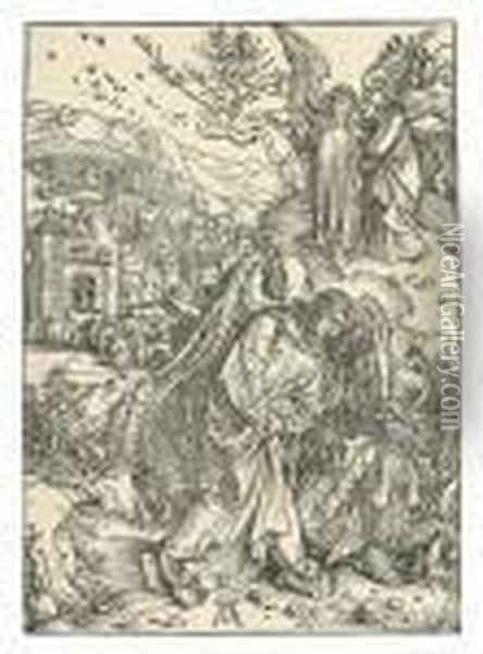 The Angel With The Key To The Abyss, From: The Apocalypse Oil Painting - Albrecht Durer