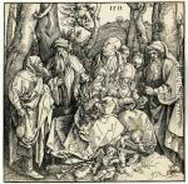 The Holy Kinship With Angels Oil Painting - Albrecht Durer