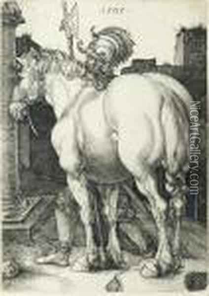 The Large Horse (b. 97; M., Holl. 94; S.m.s. 43) Oil Painting - Albrecht Durer