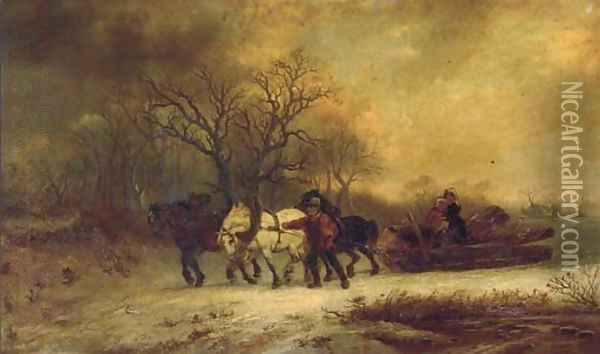 Loggers in a winter landscape Oil Painting - Alexis de Leeuw