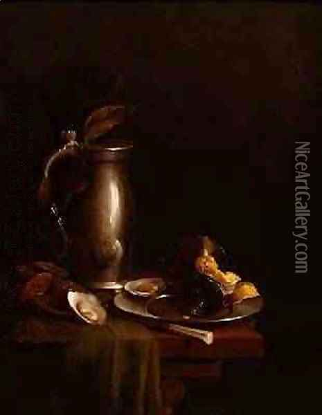 A pewter jug and plate Oil Painting - Simon Luttichuys