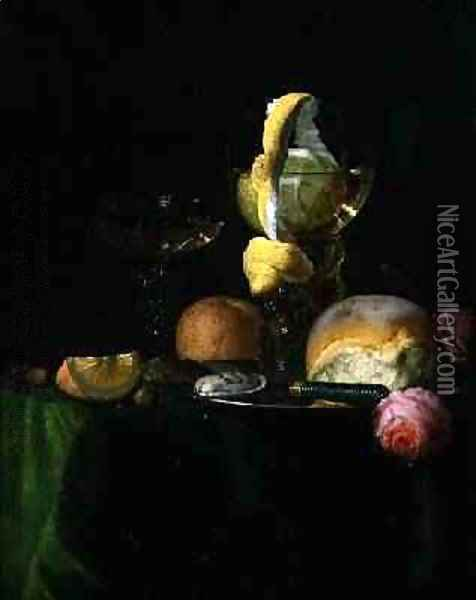 Still Life with a Peeled Lemon in a Roemer Oil Painting - Simon Luttichuys