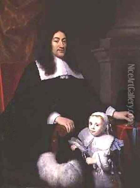 Sir William Davidson of Curriehill with his son Oil Painting - Simon Luttichuys