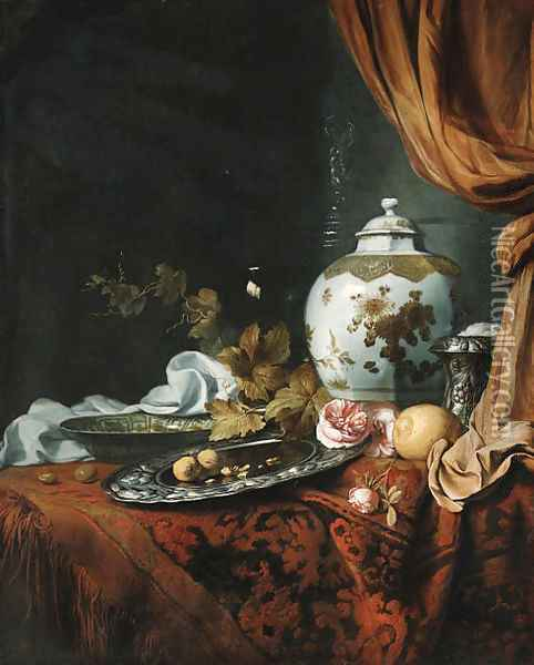 A blue and white facetted vase with other dishes, glasses, fruit and roses on a draped table Oil Painting - Simon Luttichuys