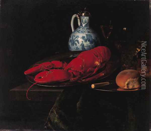 A lobster, a bun and a knife on a pewter plate, a roemer, a wine glass and a Delft jug with a Chinese blue and white silver mounted ewer Oil Painting - Simon Luttichuys