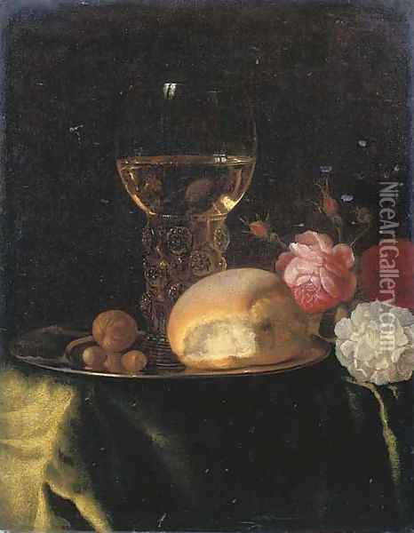 A roemer of white wine, a bread roll and nuts on a silver plate, together with roses on a green-draped table Oil Painting - Simon Luttichuys