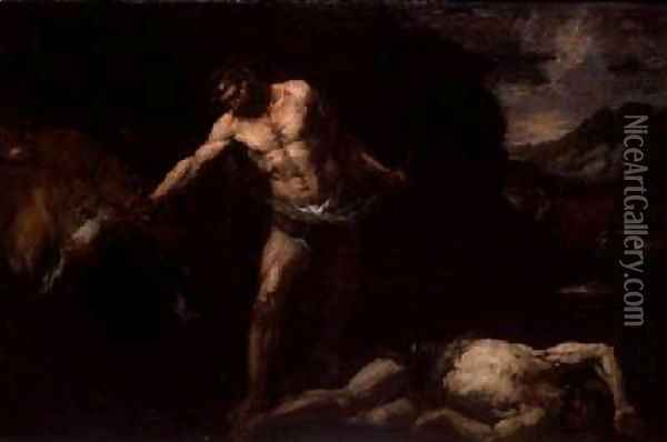 Hercules slays the giant Cacus and steals back the cattle of Geryon Oil Painting - Giambattista Langetti