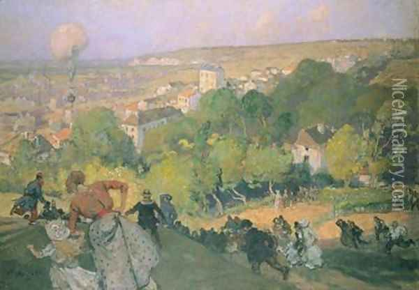 Balloon Landing at Pre St-Gervais Oil Painting - Auguste Lepere