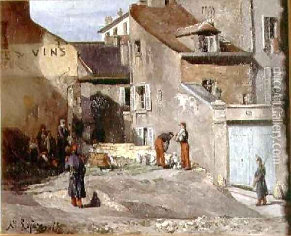 Rue des Rosiers with the artillery soldiers of Generals Clement Thomas and Lecomte during the Paris Commune Oil Painting - Auguste Lepere
