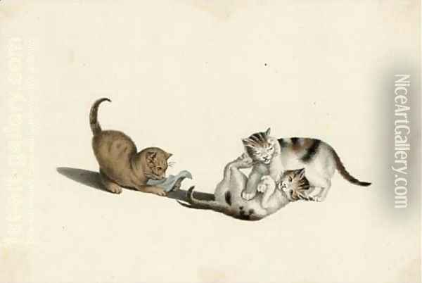Playful kittens Oil Painting - A. Lamy