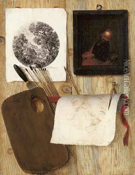 A trompe-l'oeil A palette with a spatula and paint brushes, an engraving, an oil painting, and a drawing with a pen and compass on a wooden partition Oil Painting - Jean-Francois de Le Motte
